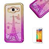 For Samsung Galaxy J5(2016 Model) Case J510 Cover, Funyye New Creative Floating Water Liquid Small Love Hearts Design Luxury Sparkly Lovely (Gold to Rose) Electroplate Plating Frame Crystal Design for Samsung Galaxy J5(2016 Model)- Eiffel