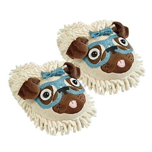 Aroma HomeShoes Pantofole pelose amico cane con occhiali, unisex, da adulti, aperte dietro Multicolore (Multicolor (Multicolor))