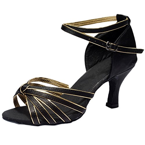 Oasap Women's Peep Toe Cross Strap High Heels Latin Dance Shoes Black&golden