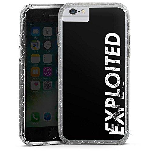 Apple iPhone 6s Bumper Hülle Bumper Case Glitzer Hülle Techno House Electro Bumper Case Glitzer silber