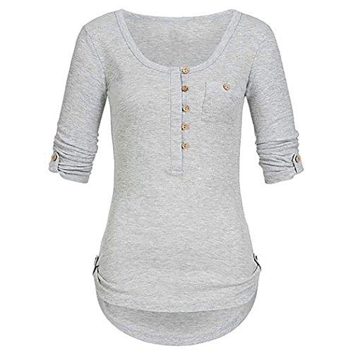 SEWORLD 2018 Damen Mode Sommer Herbst Elegant Schal Solide Langarm Knopf Bluse Pullover Tops Shirt mit Taschen(Grau,EU-46/CN-XXL)