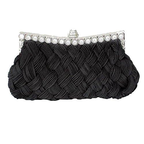 Knitting Rhinestone Borsa Da Sera Rosso Borsa Da Sposa Signora Classico Moda Borsa Da Viaggio Borsa Da Moda Black