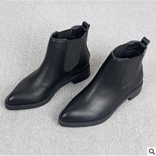 Hsxz Calzado Mujer Puede Otoño Invierno Comfort Boots Gruesos Botines Talón Del Dedo Del Pie / Botas Casuales Negros Negros