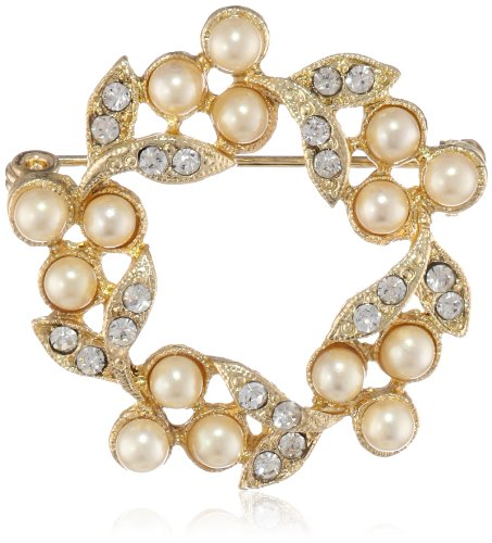 Downton Abbey Boxed Gold-Tone Faux Pearl and Crystal Wreath Brooch