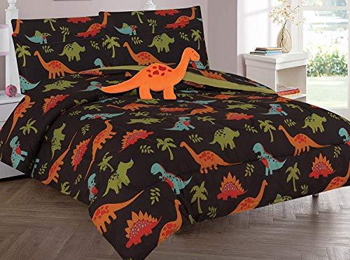 Goldenlinens Twin & Full 6Pcs Oder 8Pcs Tröster/Überwurf/Bett in Set mit Tasche Spielzeug Full Dinosaur Brown -