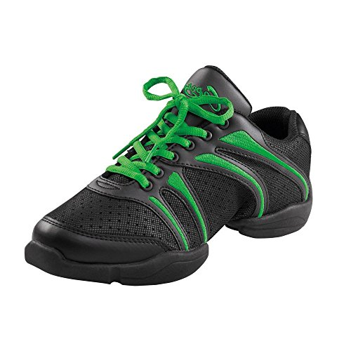 Capezio DS30 Bolt Split Sole Dance Sneaker Schwarz / Grün