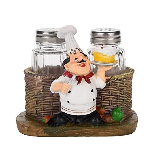 Vobor Chef Estatua Sal Pimienta Botella Titular Adornos decoración del hogar Cocina...