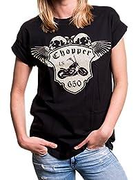 MAKAYA Top Manga Corta Talla Grande - Moto LS650 - Camiseta Mujer Calavera