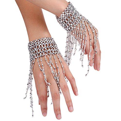 Bauchtänzerin Münze (Amorar 1 Paar Mode Bauchtanz Armband Armmanschetten Kette Handgelenk Manschette Armband Hand Dekoration Quaste Handkette Handschmuck,EINWEG Verpackung)