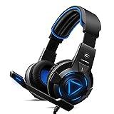 CH-1Gaming Headset für Playstation 4, PC, Pro Mikrofon mit Geräuschunterdrückung, Stereo Surround Sound, Best Game Hintergrund-Sound Kopfhörer für PS3, Xbox One, Xbox 360, LED-Leuchten–Blau