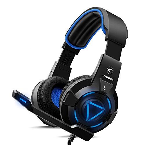 CH-1Gaming Headset für Playstation 4, PC, Pro Mikrofon mit Geräuschunterdrückung, Stereo Surround Sound, Best Game Hintergrund-Sound Kopfhörer für PS3, Xbox One, Xbox 360, LED-Leuchten-Blau - 360 Xbox Konsole-einheit