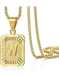 Trendsmax Cadena Mujer Hombre Collar colgante Chapado en oro Cuadrado cartas W con cuadro de Enlace [longitud:55.88cm]