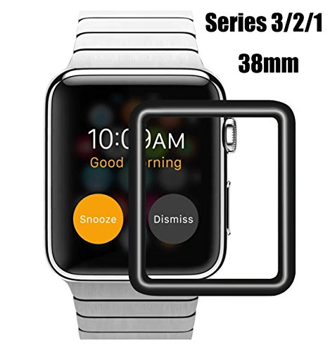MOBITECH™ Present Apple Watch (Series 3/2/1 Compatible) Tempered Glass Screen Protector 3D Curved Edge 9H Hardness for Apple Watch [38mm] - Black