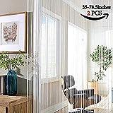 AIZESI Fadenvorhang Weiss 90x200 Vorhänge Weiss Transparent Verdunklung Fadengardine Weiß Vorhang Blickdicht Fenstervorhang