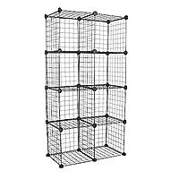 Wido Set of 8 Black Wire Interlocking Storage Cubes Rack Metal Mesh Shelves Modular Combination Cabinet Display Stand Unit