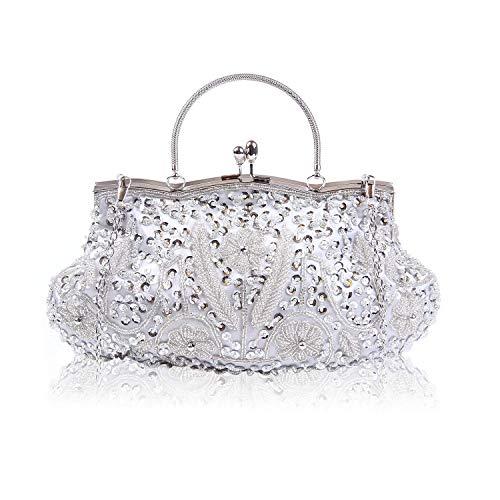 EVEOUT Exquisite Sammlung Antike Blumensamen Perle Pailletten Weichen Satin Kupplung Abendtasche Designer Geldbörse, Brautmode Handtaschen