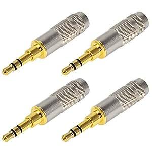 3,5mm 3polig Kopfhörer Stecker Audio Klinken Buchse Adapter Lötversion vergoldet