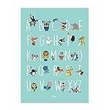 Julica Design ABC Poster für Kinder | Tiere Wand-Bild | Alphabet Lernposter Deutsch | Buchstaben lernen im Kinderzimmer | Für Kindergarten, zum Schulanfang & Erste Klasse | Größe 50x70 | + BONUS Memory Lernspiel