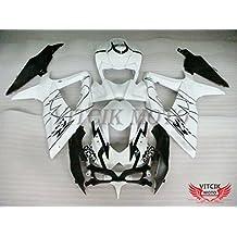 VITCIK (Kit de Carenado para Suzuki GSXR600-750 K8 2008 2009 2010 GSXR 600 750 K8 08 09 10) Accesorios de repuesto para bastidor y carrocería con completo para motocicleta y moldeo por inyección en ABS(Negro & Blanco) A009
