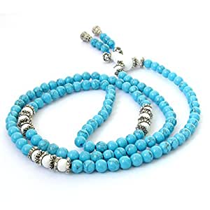 Ovalbuy 6mm 108 Howlite Beads Buddhist Prayer Rosary Mala Necklace