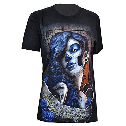 Blood-skull-t-shirt (Rock Eagle T-Shirt Damen Shirt Rock Glamrock La Catrina Tattoo Totenkopf Skull Skelett Gothic Angel Blood (XL, 4052))