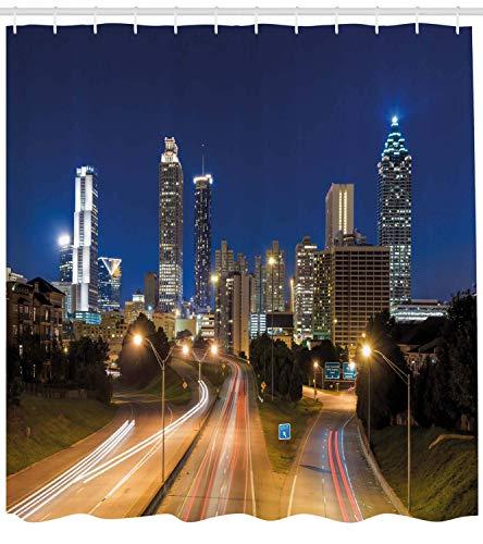 WvtsUcykyga Urban Duschvorhang Bild von Atlanta Skyline Twilight mit Highway Buildings Wolkenkratzer Bewegungsunschärfe Stoff Badezimmer Dekor Set mit Navy Gold