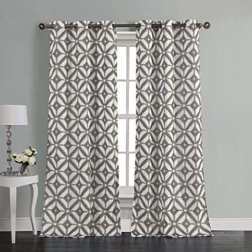 Duck River Textiles - Home Fashion Bedruckte geometrische Leinen, strukturierte Ösenvorhänge für Wohnzimmer und Schlafzimmer, Set mit 2 Paneelen, 96,5 x 213,4 cm, Grau