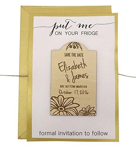 sparen sie das datum Holz Magnet Gewohnheit gravierte 50 Holz Magnet rustikale Hochzeit Ankündigungen Idee