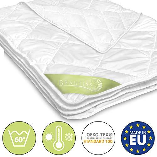 Beautissu BeauNuit SD Sommerdecke Bettdecke 155x220 cm Für Allergiker Geeignet - Mikrofaser Steppdecke Leicht & Atmungsaktiv