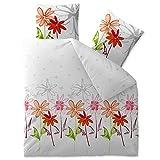 3-tlg. Bettwäsche 200x220 100% Baumwolle Seersucker Marken Qualität | CelinaTex Enjoy Design Ayana weiß grün orange rot Blumen