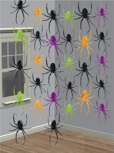 Halloween Einladungen (6-teiliges Decken-Deko Set * SPINNEN * für Halloween oder eine Motto-Party // Kindergeburtstag Feier Fete Strings of Spiders Spinne Horror Grusel Oktober)