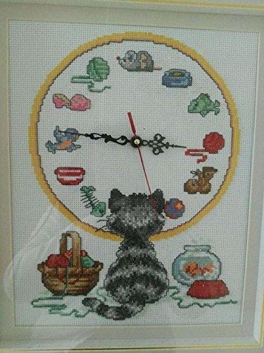 Gato y punto de cruz, SUZUKI reloj, DMC, 14ct 52 x 45 cm reloj kits de punto de cruz