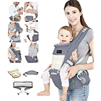 Azeekoom Baby Carrier, Ergonomic Hip Seat, Baby Carrier Sling with Fixing Strap, Bibs, Shoulder Strap, Head Hood for Newborn to Toddler from 0-36 Month (Gray)