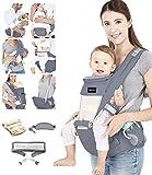 Azeekoom Babytrage Ergonomische, Kindertrage mit Hüftsitz, Befestigungsgürtel, Lätzchen, Schultergurt, Kopfbedeckung für Neugeborene bis Kinder von 0 bis 36 Monaten (Grau)
