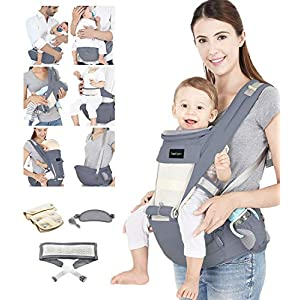 Azeekoom Baby Carrier, Ergonomic Hip Seat, Baby Carrier Sling with Fixing Strap, Bibs, Shoulder Strap, Head Hood for Newborn to Toddler from 0-36 Month (Gray)   7