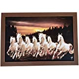 D'Mak™ Exclusive 7 Running Horses Painting (Synthetic Without Glass) Framed Wall Art Paintings Of Running Horses Painting Frame Size (18 Inch X 12 Inch)|vastu Painting For Home And Office||Seven Lucky Running Horses Painting || 7 Horses Painti
