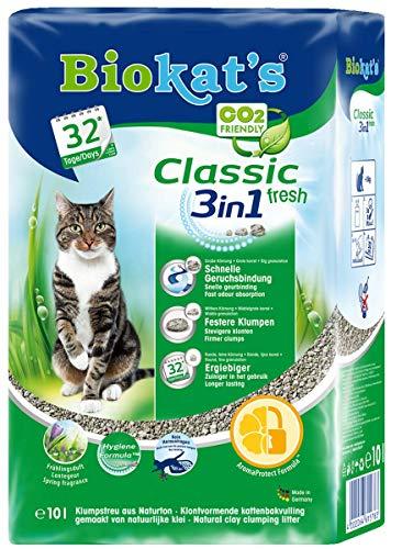 Biokat's Classic Fresh 3in1 Katzenstreu mit Frühlingsduft, Hochwertige Klumpstreu für Katzen mit 3 unterschiedlichen Korngrößen, 1 Plastikbeutel (1 x 10 L)