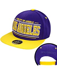 Hoodboyz The City Of Angels Los Angeles Herren Snapback Cap Lila Gelb
