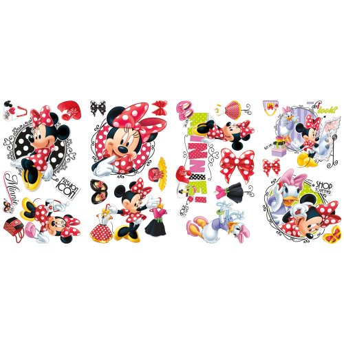 RoomMates Pegatina de pared con diseño de Minnie adora comprar - Mickey & Friends - Minnie Loves to Shop Peel & Stick Wall Decals