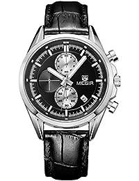 MEGIR Original Quartz Watches Men Chronograph Wristwatches Top Brand Business Leather Men Military Watch
