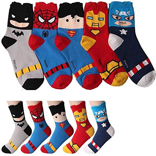 Marvel Charakter Mannschafts Socken mit Beutel Packung mit 5 Paaren - Iron Man, Batman, Kapitan Amerika, Spider-Man, Superman