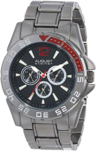 August Steiner Men's AS8077BK Quartz Multifunction Black Dial Black Bracelet Watch