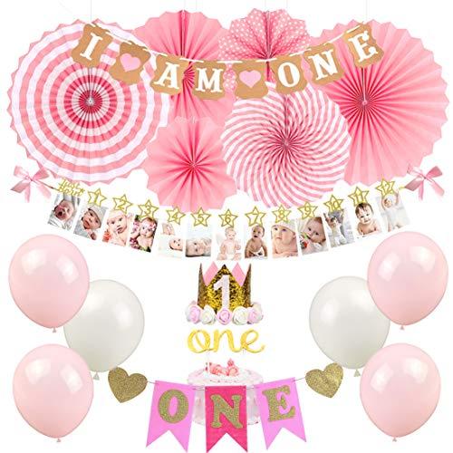 KREATWOW Ersten Geburtstag Mädchen Dekorationen - Baby Girl 1st Birthday Party Supplies Rosa ich Bin EIN Banner Crown Party Hut Hochstuhl Banner - Birthday Party Mädchen Supplies 1