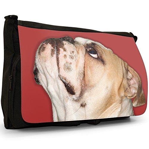 Close Up Of Bulldog Looking Up-Borsa Messenger, colore: nero, Borsa a tracolla in tela, borsa per Laptop, scuola Red Bulldog Looking Up