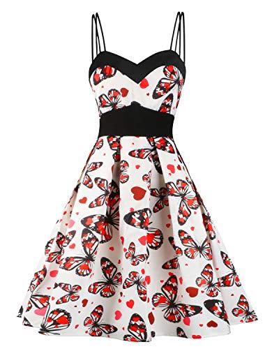 Hotelvs Damen Kleid 1950er Vintage Retro Cocktailkleider Spaghetti Abendkleid Sommerkleid -