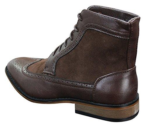 Bottines homme style Chelsea Brogue hauteur cheville cuir et simili look chic décontracté avec lacets Marron