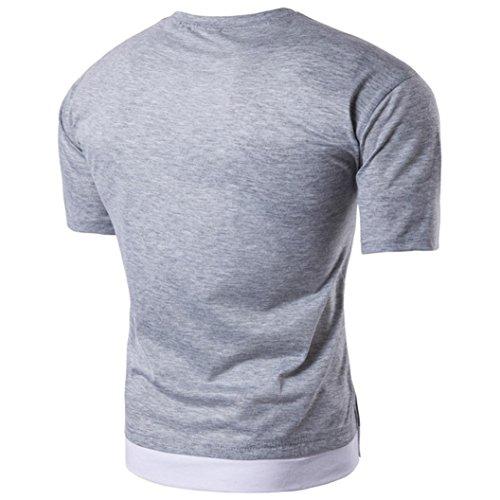 KEERADS Herren T-Shirt Rundhals Brusttasche Grau