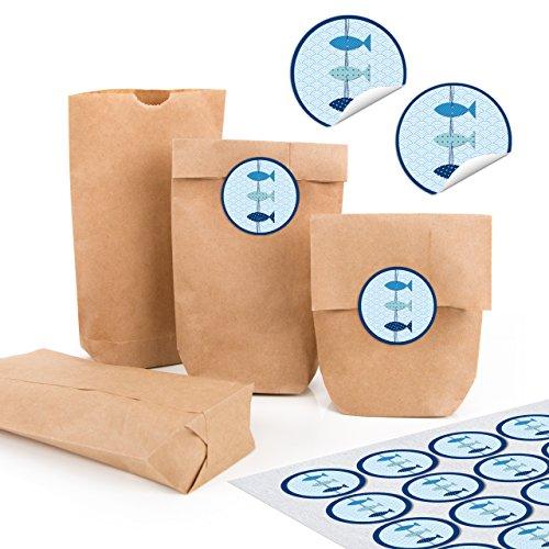 24 kleine braune Papiertüten natur Kraftpapier 9 x 15 x 3,5 cm + 24 runde Aufkleber 3 FISCHE blau türkis maritim weiß Verpackung mini-Tüte Geschenk