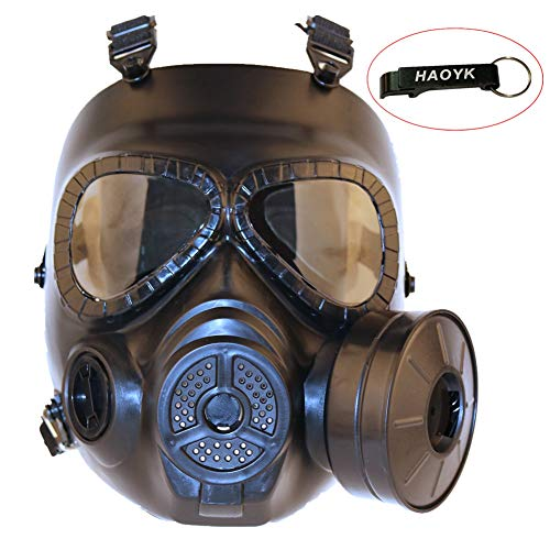 haoYK Tactical Schnuller Anti Nebel Gas Face Maske mit Turbo Fan Softair paintbal Schutz Gear Sonnenbrille, Schwarz