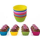 Daorier Confezione da 24 Antiaderenti stampini pirottini colorati in silicone per tortine Silicone stampi da muffin stampi in silicone stampi da forno in silicone rotondi per cioccolato torta gelatina cubetti di ghiaccio colore casuale